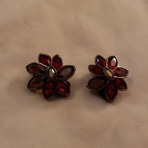 Vintage Red Crystal Swarovski Clipon Earrings
